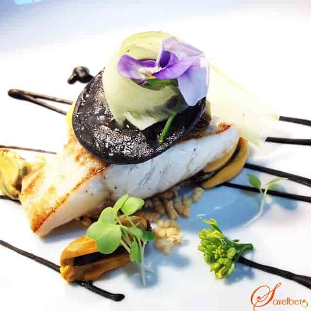 Pan fried Dutch Sea Bass with squid ink pasta stuffed